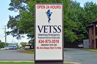 Sign for VETSS: Veterinary Emergency Treatment Service & Specialty